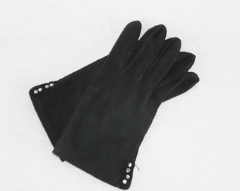 1950s Vintage Black Cotton Gloves with Tiny Decorative Buttons by Fowne's Doette Size 6 1/2