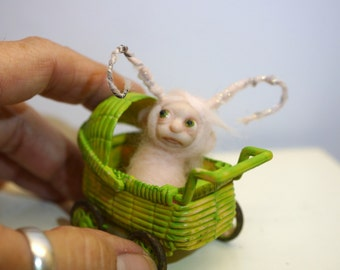 ooak poseable  tiny new born baby bug fairy in a buggy   ( # 4 ) polymer clay art doll by DinkyDarlings elf pixie faery