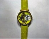 Womens Watch, Yellow Wrist Watch with Purple Queen Anne Lace and Leather Band