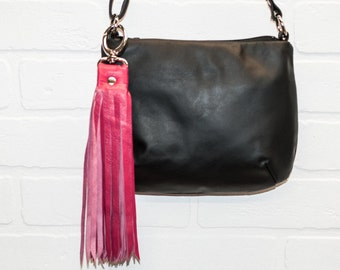 """SALE, 10"""", recycled pink leather tassel, leather, bag charm, leather fringe, keychain, hook, handmade, wholesale, stacylynnc"""