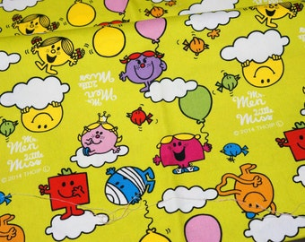 Cartoon Character Fabric Mr Men Little Miss Half meter 50 cm by 106 cm or 19.6 by 42 inches