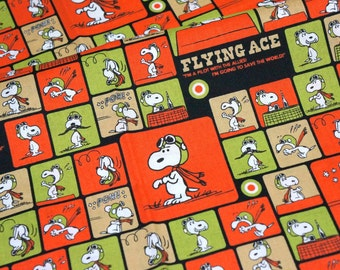 Peanuts Worldwide LLC Licensed fabric ON SALE Snoopy print Japanese fabric 50 cm by 106  cm or 19.6 by 42  inches Half Meter