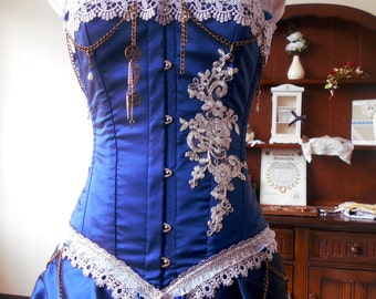 Harri - Custom made SILVER and midnight blue steampunk Bridal gown with steel boned corset