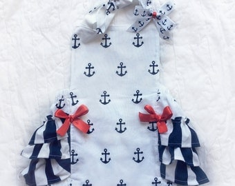 Sweet Sailor Nautical Ruffled Bottom Bubble Romper Baby Girl Romper and Bow Set Baby Toddler Big Girl Size NB - 6 Girls