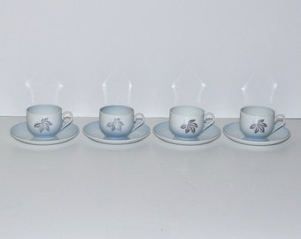Bing & Grondahl Copenhagen Falling Leaves Coffee Cups and Saucers Set, circa1960