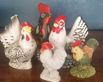 5 chickens and roosters