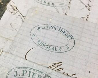 5 Antique 1800s French Blue Letters Paris Calligraphy Script Lot M