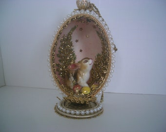 Vintage Diorama Egg With a Rabbit and Ferns