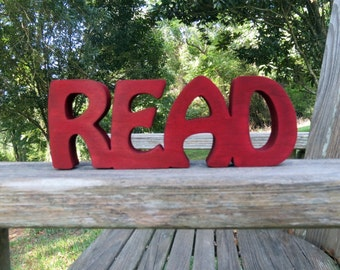 wooden read sign shelf sitter or wall hanging  home decor wall decor