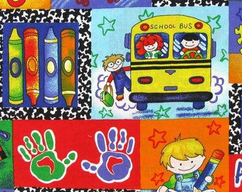 Red Blue Green Yellow School Bus Classroom Crayons HaNdMaDe Cotton Fabric Window Curtain Valance