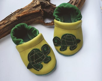 Green Turtles Soft Soled Leather Shoes Baby and Toddler