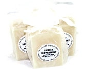 Purely Peppermint Handmade Cold Process Soap Bar, 4oz - minty, phthalate free, white, vegan,natural,organic sustainable palm oil,organza bag