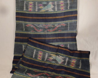 IKAT Raw Silk SCARF Handwoven 1950s  shades of blue pink gold Color figural  birds dolphins  60 X 18  hand fringed Thailand Siam