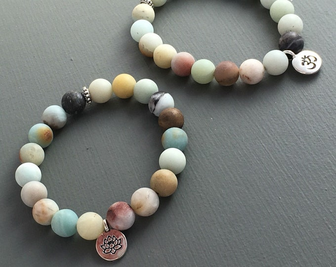 matte amazonite gemstone stretch mini mala bracelet with customizable charm, yoga bracelet, mala bracelet, beaded charm bracelet, yoga