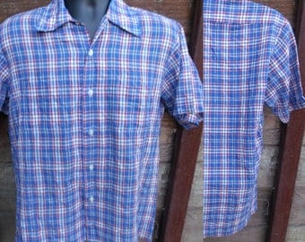 Men's Plaid button down Shirt, 70's Blue Plaid Shirt
