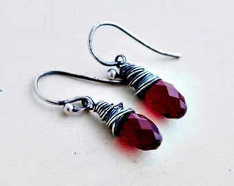 Crystal Earrings, Garnet Crystal, Drop Earrings, Wire Wrapped, January, Dark Red, Garnet Red, Sterling Silver, Swarovski Crystal, PoleStar