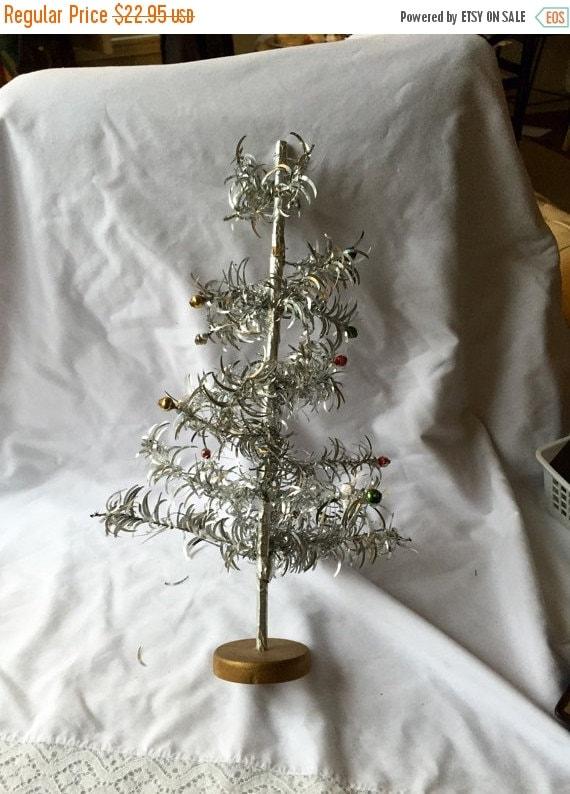 Vintage Aluminum Tree Small Table Top Tinsel Tree Miniature