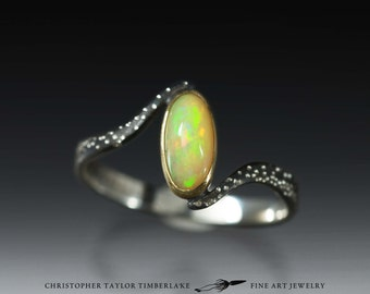 Hubble's Constant 18K Yellow Gold and Sterling Silver Ring with Ethiopian Opal