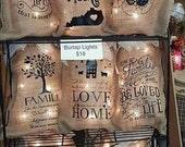 Burlap Bag, Burlap Lights, Burlap Bag Lights, Burlap Lighting, Prim Lighting, Rustic Lighting, Burlap Monogram
