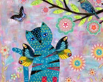 Angel Cat Art Print - Cat Portrait - Angel Cat Painting - Large Art Print - Nursery Art - Cat Art - Nursery Decor - Butterfly Wings Cat