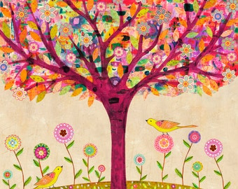 Sunny Tree Art Print, Mixed Media Tree Painting, Nature Art, Bohemian Tree Painting