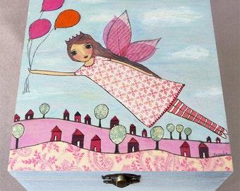 Fairy Jewelry Box, Tooth Fairy Box, Wooden Jewelry Box, Girls Birthday Gift, Girls Christmas Gift, Trinket Box, Keepsake Box