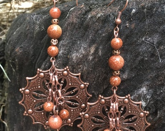 Copper Chandilier Earrings