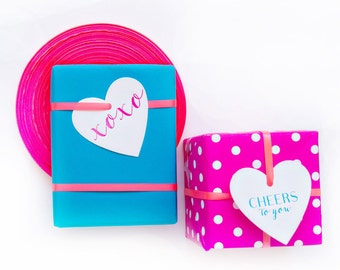 Bright Boxed Letterpress Gift Tags  XOXO  and Cheers in Aqua and Fuchsia