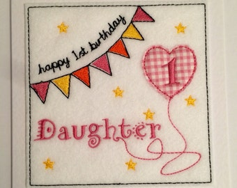 Bunting Birthday Card (Daughter) - Embroidered