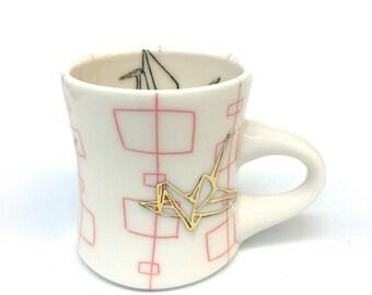Mid Century Paper Crane Luster Mug