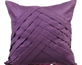 Purple Couch Cushion Covers 16 x 16 Pillow Covers Suede Pleated Decorative Pillows - Purple No Limits No Lines