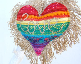 Rainbow Mixed Media Heart - A Colourful Applique Love Heart Decoration - with the word love in gold ric rac and gold tassel trim. Unique