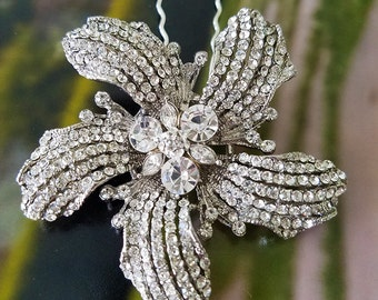 SALE! Rhinestone Flower Hair Pin or DIY Bouquet Jewelry,  Ready to Ship