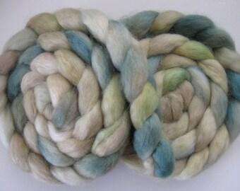 Pale Memories- Wensleydale Wool Roving (Top) - Handpainted Spinning or Felting Fiber - 4 ounces