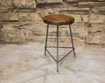 Free Shipping Reclaimed Wood 3 Leg Factory Style Bar Stools