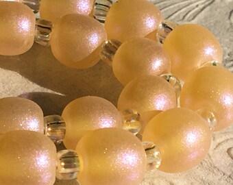 Shimmering Honey Pearls Handmade Lampwork Glass Beads SRA