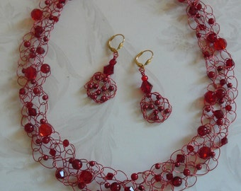 Crocheted Necklace Set, Earrings and Necklace, Holiday Jewelry, Red Necklace and Earrings, Unique One of a Kind Set, A Christmas Gift