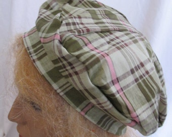 SALE - Green and Pink Plaid Beret (4745)