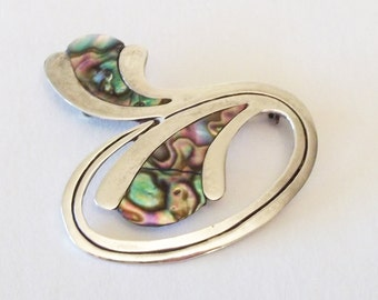 Taxco Mexican Sterling Silver & Abalone Brooch / Pin, Marked 925 Mexico