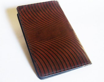 Leather Checkbook Cover with Op-Art Swirl Pattern