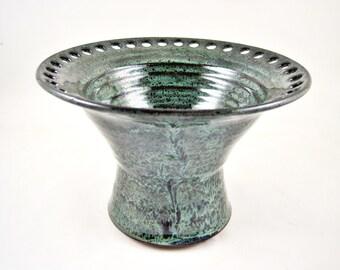 Earring holder, Jewelry Bowl, Jewelry holder, handmade pottery earring holder, dark green pottery - in stock