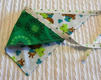 St Patrick Dog Bandana with shamrocks and Bears in Tie Style Sizes S to XL