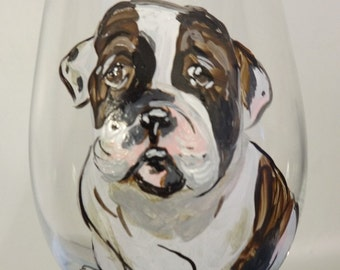 Custom hand painted pet portrait wine glass