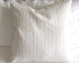 IVORY matelasse Pillow Cover 20x20 22x22 24x24 26x26