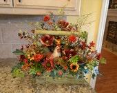 Rooster Arrangement in Green Wooden Basket