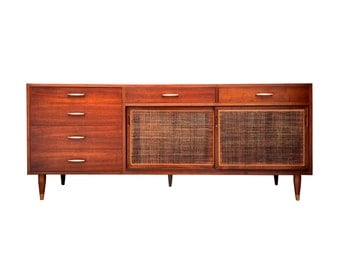 Free Shipping Mid Century Modern Sideboard with Copper Handles and Cane Doors