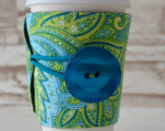 Green & Blue Paisley w/JUMBO Button, Adjustable Coffee or Tea Cup Cozy for Tapered Disposable Cups - READY To SHIP