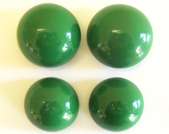 Large Forest Green Dome Buttons - Vintage Green Lacquer Finish - Set of Four