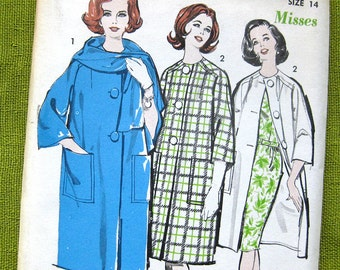 1960s Vintage Coat Pattern Advance 2854 Patch Pocket Coat with Scarf / Size 14 and Size 16 / Advance 2854 /  UNCUT FF