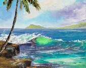 SURFING HAWAII Framed Original Oil Painting Art Portlock China Walls Oahu Surfer Surf Surfboard Dude Ocean Paradise Vacation Palm Tree Cliff